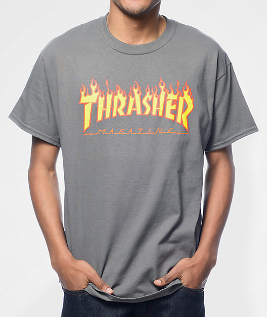 Thrasher Flame Logo camiseta de color carbón