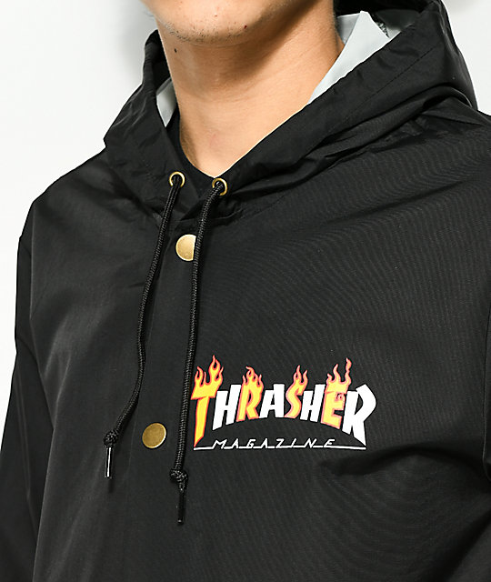 74f35d09bd62 ... Thrasher Flame Magazine Black Hooded Coaches Jacket