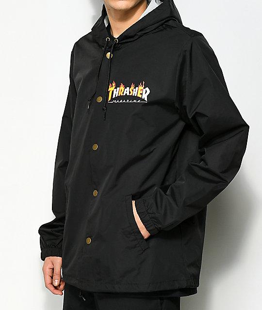 Thrasher Flame Magazine Black Hooded Coaches Jacket Zumiez