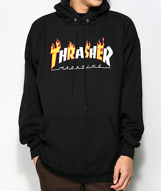 3d85d1fb08c4 Thrasher Flame Magazine Black Hoodie