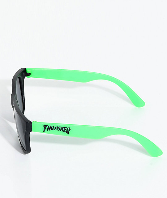 Thrasher Logo Green Sunglasses