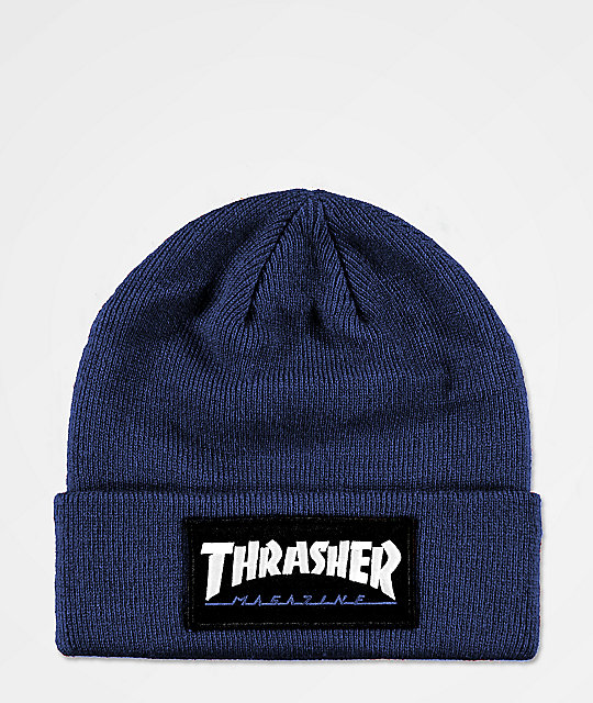 848768a20c8 Thrasher Logo Patch Navy Beanie