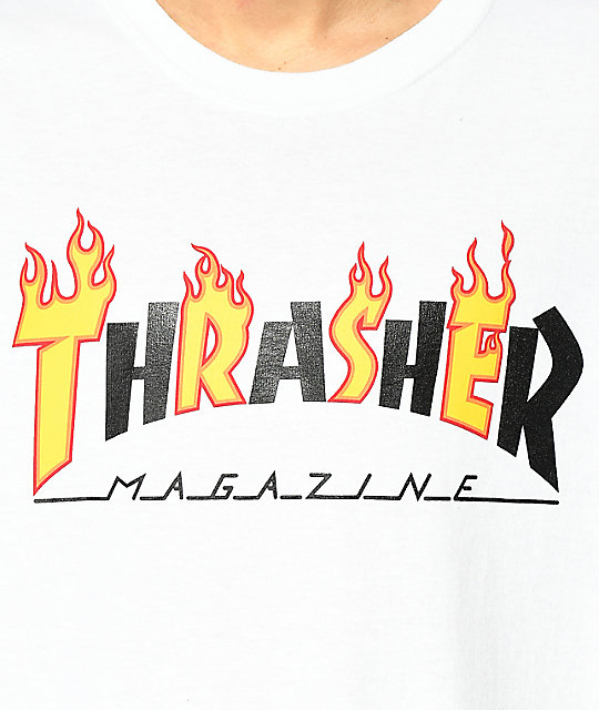 Thrasher Mag Flame White T-Shirt