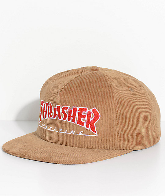 fc94470a035d Thrasher Magazine Logo Gold Corduroy Snapback Hat