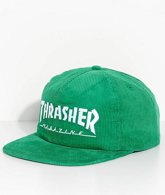 28b6095fb Thrasher Magazine Logo Green Corduroy Snapback Hat