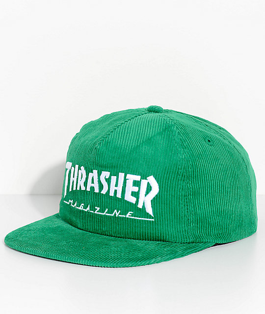 Thrasher Magazine Logo Green Corduroy Snapback Hat  a1e55a43fb8