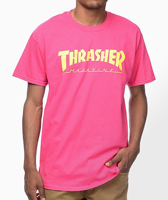 thrasher magazine logo pink tshirt zumiez