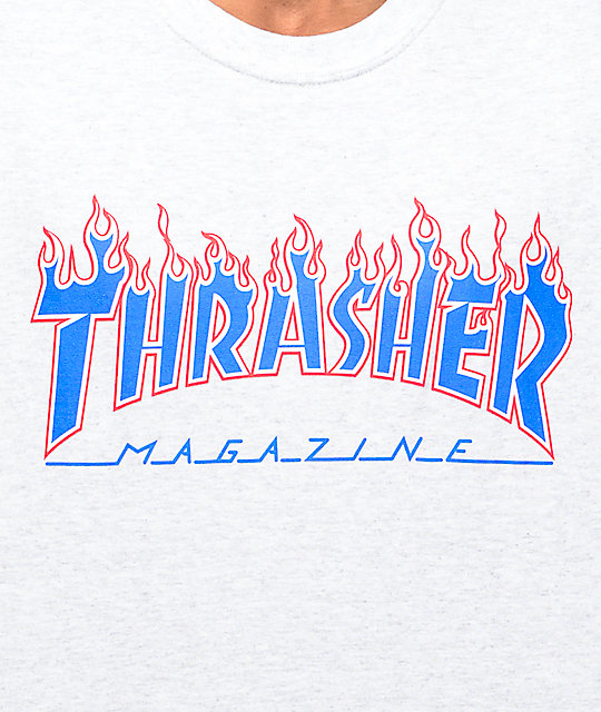 Thrasher Magazine Patriot Flame camiseta gris
