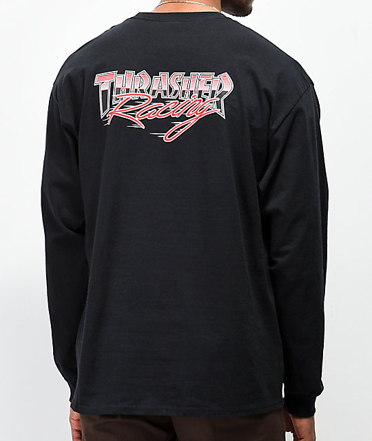 Thrasher Racing camiseta negra de manga larga