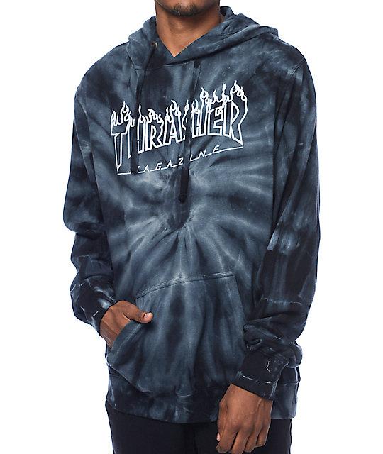 Thrasher Silver Flame Logo Grey Tie Dye Pullover Hoodie  5c6d3708cd7f