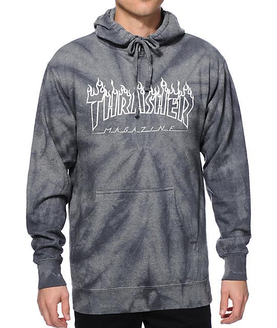 Thrasher Silver Flame Logo Tie Dye Hoodie  031dd470c
