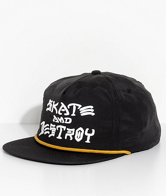 Thrasher Skate And Destroy Black Snapback Hat  0552953632e