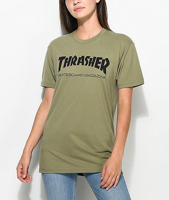 Thrasher Skate Mag Olive Boyfriend Fit T-Shirt  2f7cdfa0498