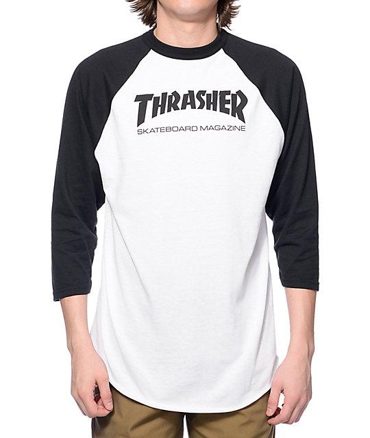 36e0124a Thrasher Skate Mag White & Black Baseball T-Shirt | Zumiez
