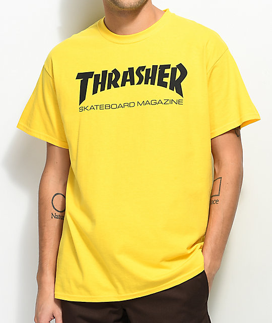 Thrasher skate mag yellow t shirt zumiez for Women s company logo shirts