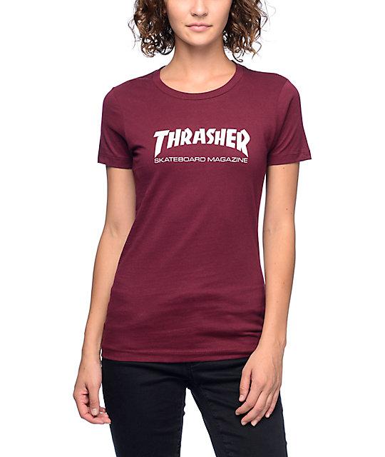 1eed9e12c5e Thrasher Skate Magazine Burgundy Slim Fit T-Shirt