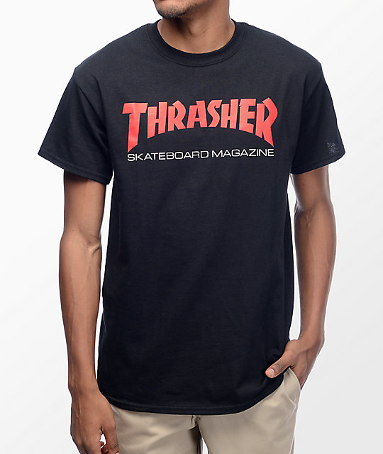 Thrasher Skateboard Magazine Two Tone camiseta negra