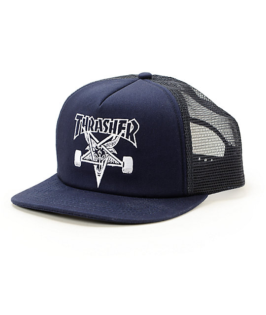 bb9430ef7b2 Thrasher Skategoat Navy Trucker Hat