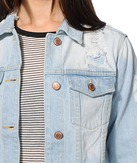 Thread Supply Alyssa Light Wash Destroyed Denim Jacket Zumiez
