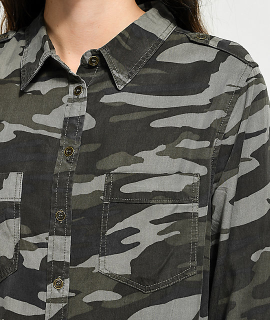 Thread & Supply Green Camo Button Up Shirt