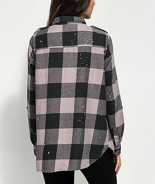 cea221c4 Thread & Supply Lavender & Paint Splatter Plaid Button Up Shirt | Zumiez