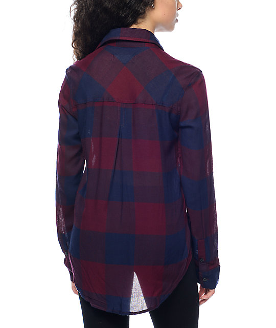 Thread & Supply Owen Burgundy & Navy Oversized Plaid Shirt