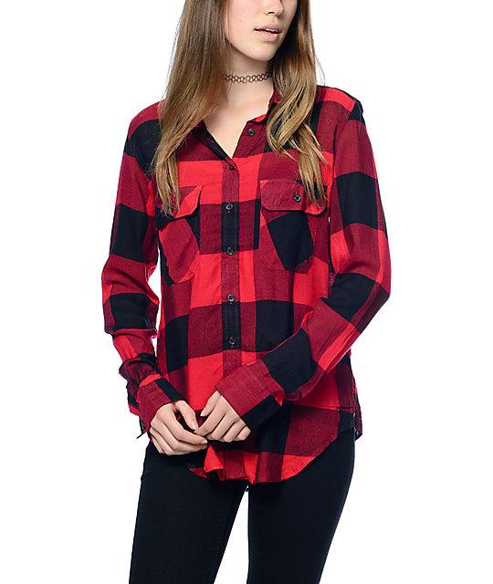 Thread   Supply Owen Camisa a cuadros extragrande en color negro y rojo ... 522536911b7a