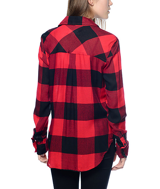 Thread & Supply Owen Oversized Red & Black Oversized Plaid Shirt