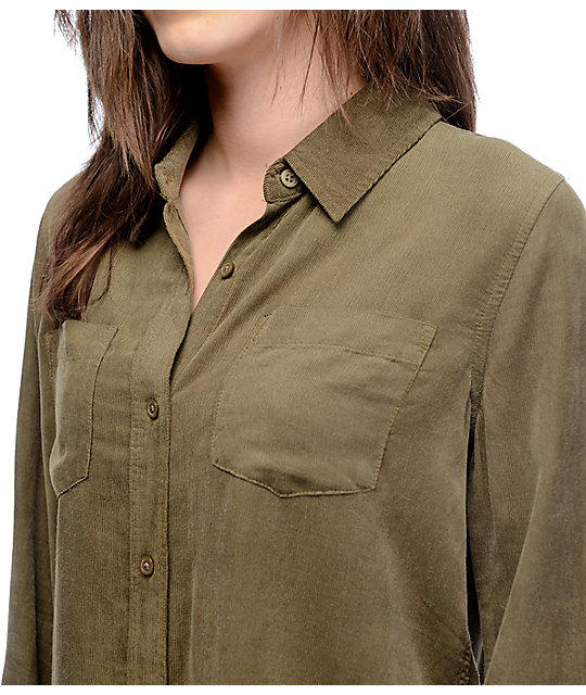 Thread Supply Riley Olive Corduroy Button Up Shirt Zumiez