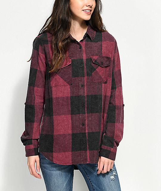 Thread & Supply Wine & Black Acid Wash Plaid Button Up Shirt