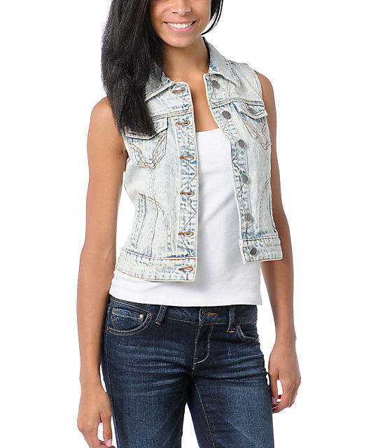 Thread and Supply Acid Wash Vintage Denim Vest