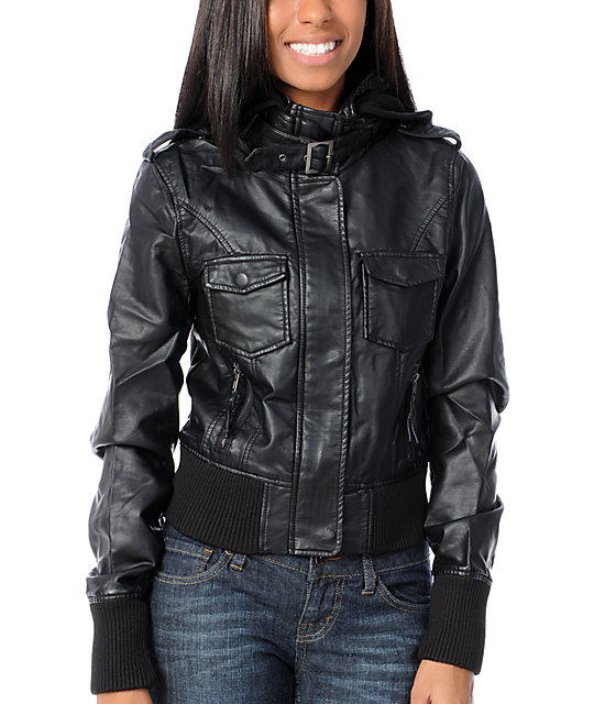 Thread and Supply Black Faux Leather Knit Hood Jacket