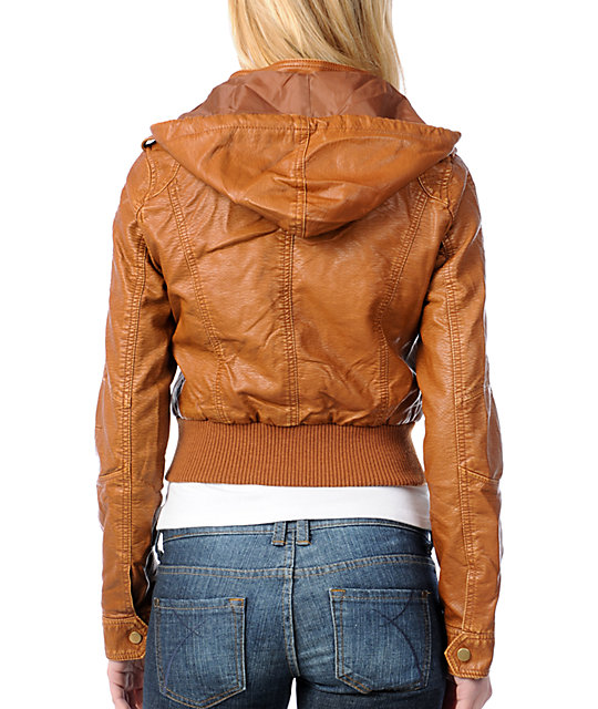 Thread and Supply Chestnut Faux Leather Jacket