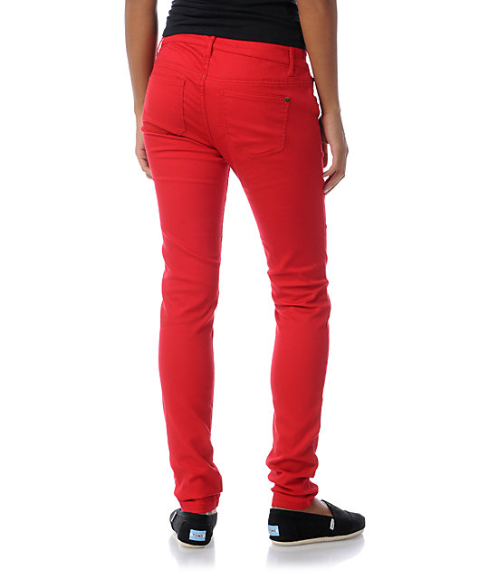 Tinsel Town Engine Red Skinny Twill Pants