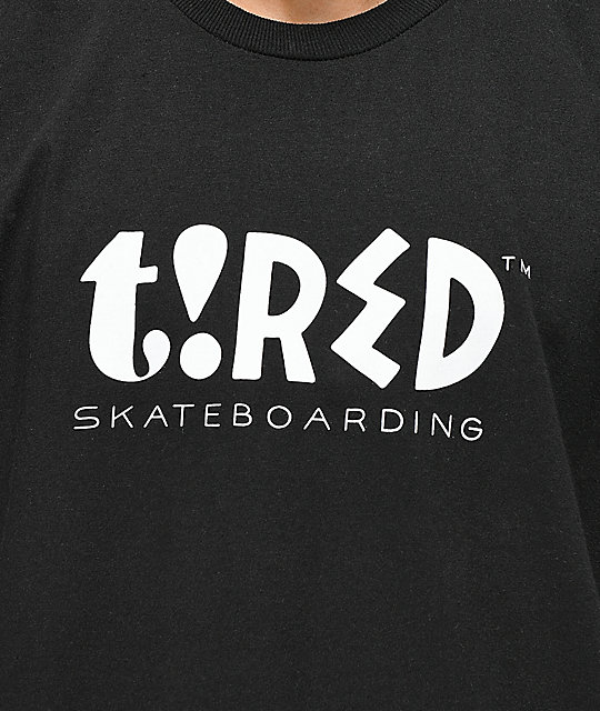 Tired Skateboards Parra Type Black T-Shirt