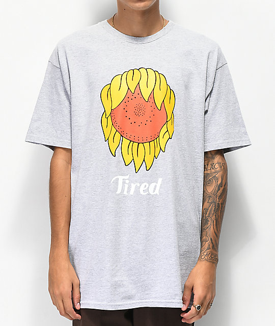 Tired Skateboards Sunflower Mark Grey T-Shirt