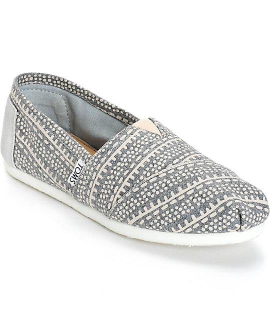 c646c40e2b9 Toms Alpargata Grey Printed Wool Womens Shoes