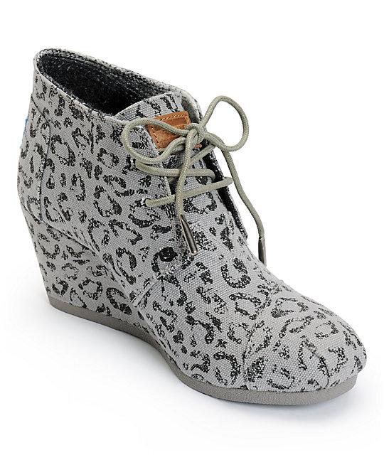 05e16eb0f405 Toms Ash Snow Leopard Canvas Desert Wedge Shoes