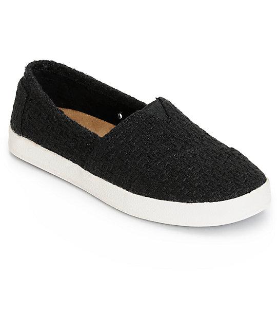 Toms Avalon Black Boucle Womens Shoes  4f85bbe9e