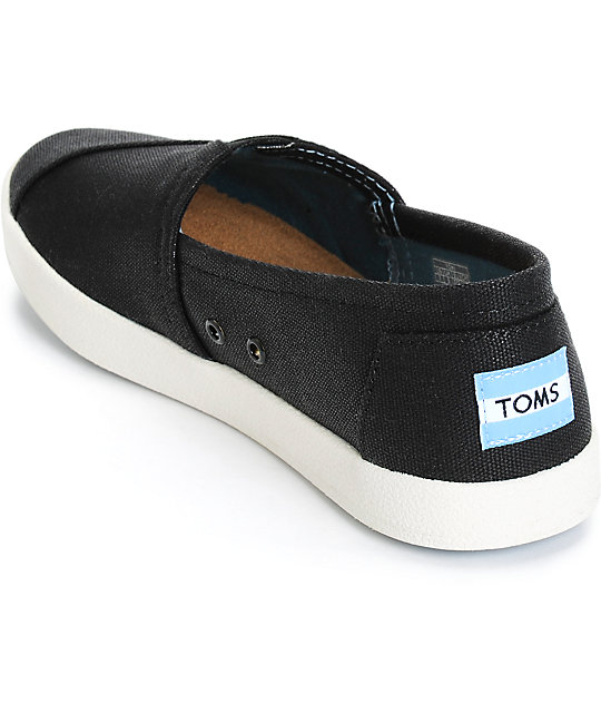 30ca0ff08089 ... Toms Avalon Black Coated Canvas Womens Shoes ...