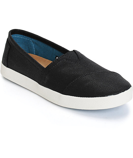 Toms Avalon Black Coated Canvas Womens Shoes  f103763cf