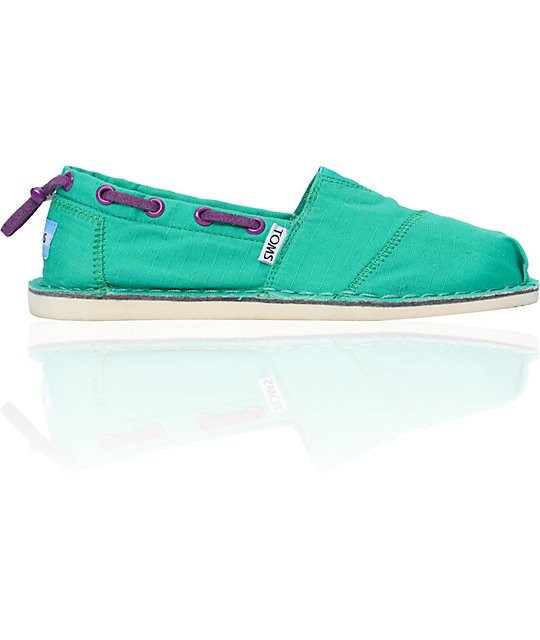 Toms Bimini Stitchout Womens Green Canvas Shoes