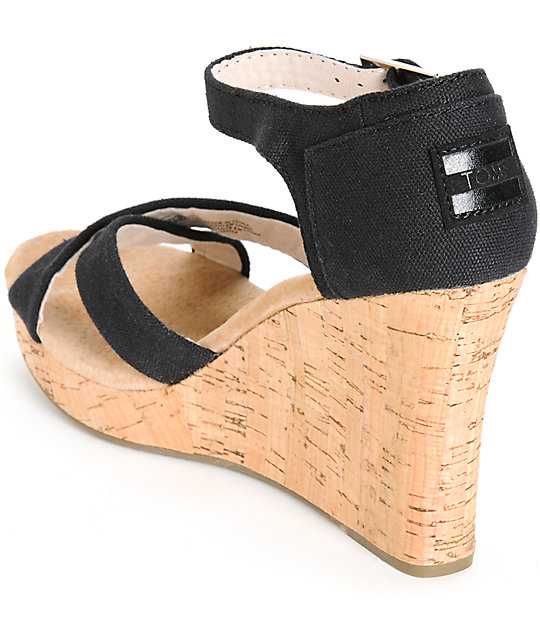 fdf0f43fe20 ... Toms Black Canvas Womens Strappy Wedges ...