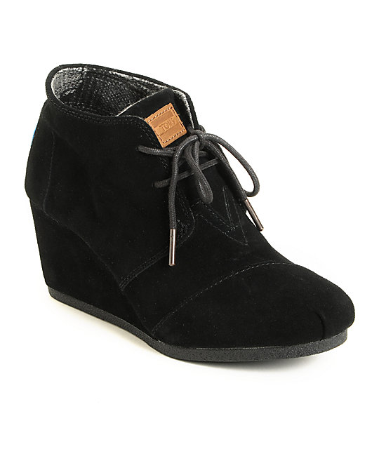 best site quality and quantity assured order Toms Black Suede Desert Wedge Shoes