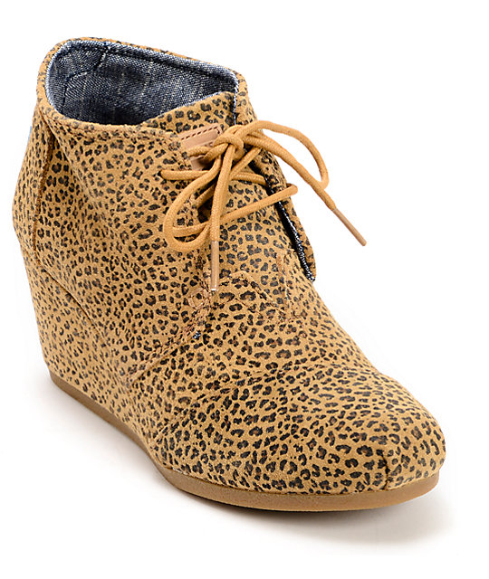 da24f8e9bec Toms Cheetah Suede Desert Wedge Shoes