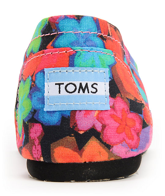 Toms Classic Bright Floral Womens Slip On Shoes