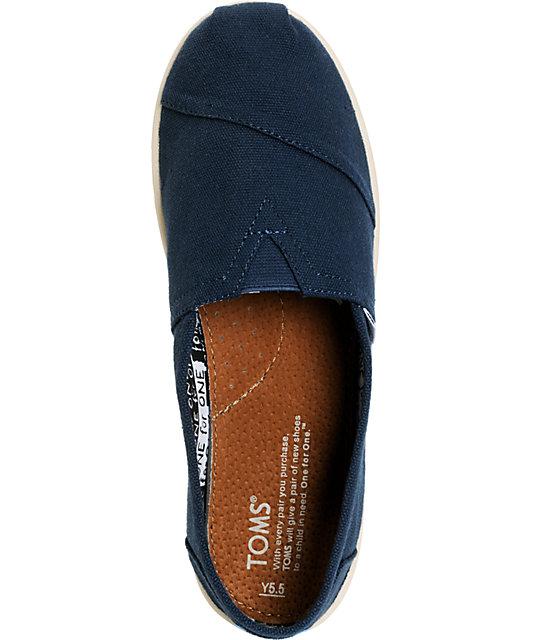 a21a787c8e ... Toms Classic Navy Blue Canvas Slip-On Kids Shoes ...