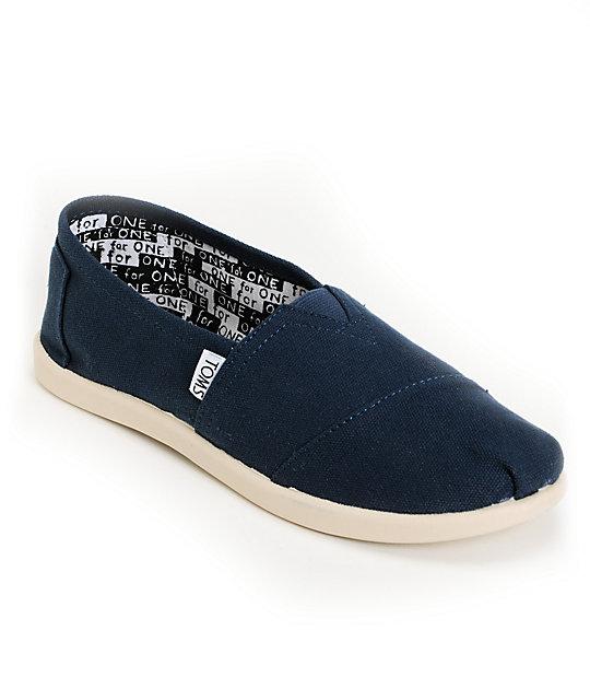 0edcb7de54f Toms Classic Navy Blue Canvas Slip-On Kids Shoes