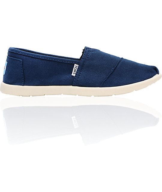 Toms Classic Navy Canvas Slip-On Kids Shoes