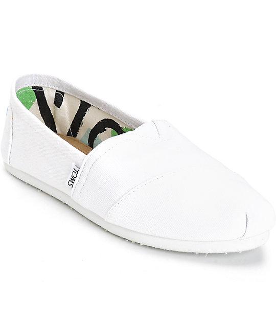 TOMS Classic Optic White Mens Canvas Espadrille Shoes Slipons-8 GML0pXp